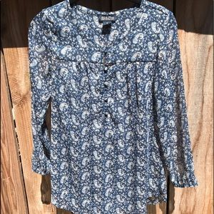🔷 Lucky Brand Semi-sheer Long Sleeve Blouse